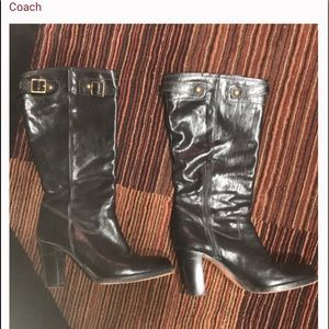 Black Coach heeled boots